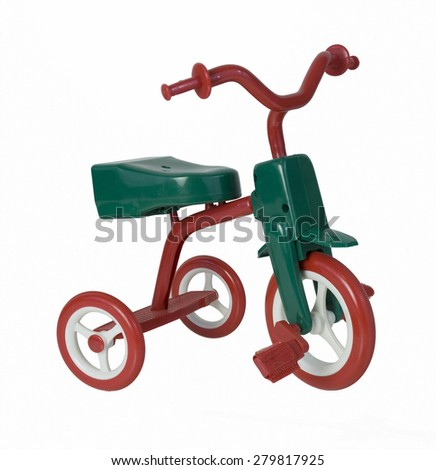 Retro red and green tricycle brings back memories of youth - path included - stock photo