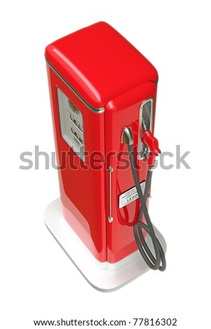 Retro red gasoline pump isolated over white background. Top side view - stock photo