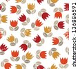 retro red orange yellow tulips and brown beige leaves messy meadow on white grunge background seamless pattern raster version - stock photo