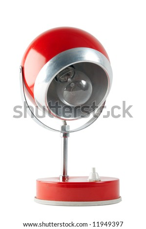 Retro red table lamp isolated on white background with clipping path - stock photo