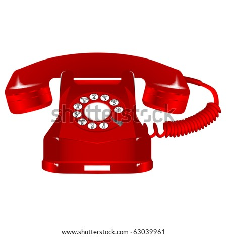 retro red telephone against white background, abstract art illustration; for vector format please visit my gallery - stock photo