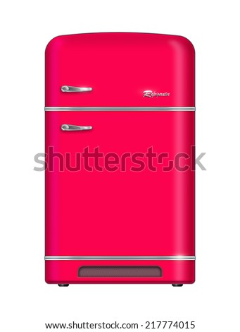 Retro refrigerator - stock photo