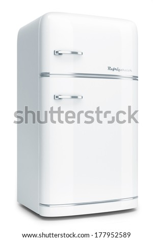 Retro refrigerator isolated on white background - stock photo