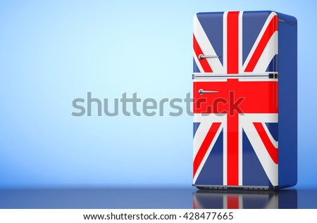 Retro refrigerator with the British flag on a blue background. 3d Rendering - stock photo