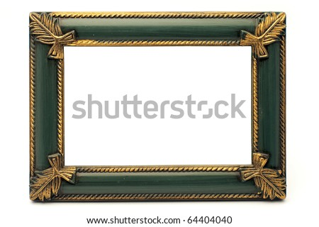 Retro Revival Old Gold and Green Frame, on white background - stock photo
