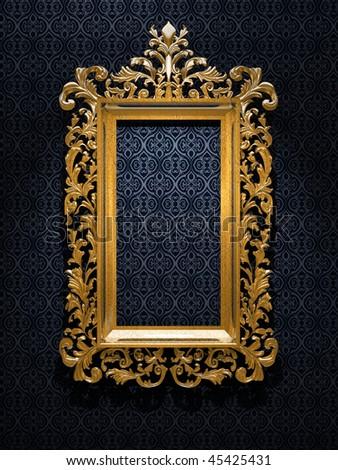 Retro Revival Old Gold Frame - stock photo