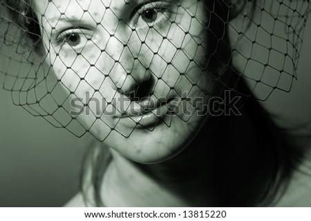 Retro revival stylish woman with veil portrait - stock photo