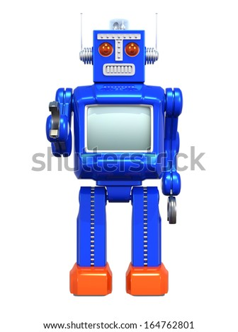 Retro robot, clipping path available. - stock photo
