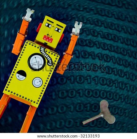 retro robot concept - stock photo