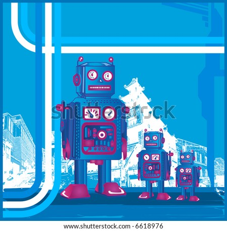 Retro Robot Family