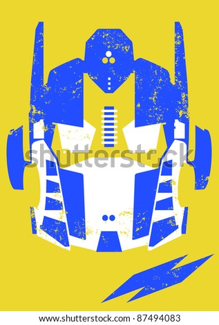Retro robot head/mask illustration - stock photo