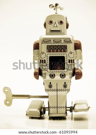retro robot in retro color - stock photo