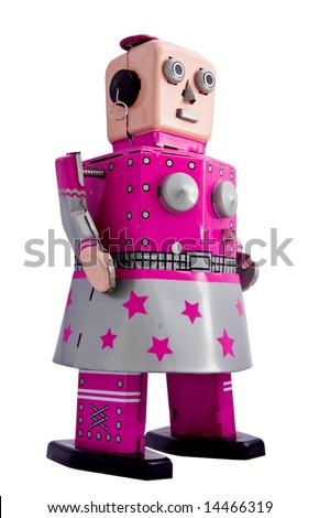 retro robot toy  woman - stock photo