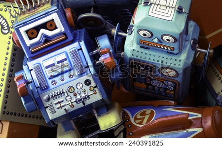 retro robot toys - stock photo