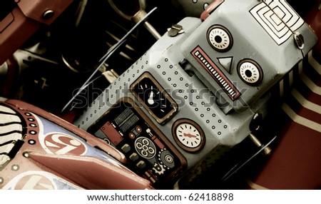 retro robot toys - stock photo