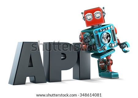 Retro Robot with application programming interface sign. Technology concept. Isolated on white background. Contains clipping path - stock photo