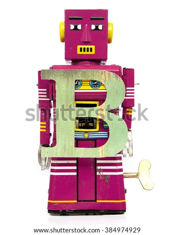 retro robot with the letter  B