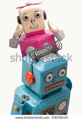 retro robots - stock photo