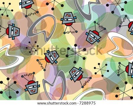 retro robots and boomerang pattern (raster) - stock photo