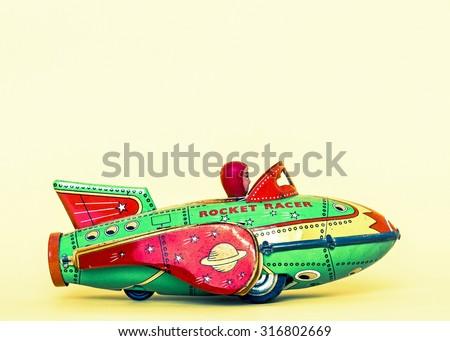 retro rocket toys - stock photo