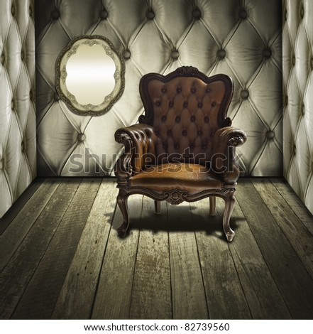 Retro room interior with wood and luxury leather - stock photo