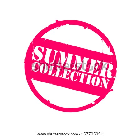 "Retro round pink rubber stamp ""Summer collection"" - stock photo"