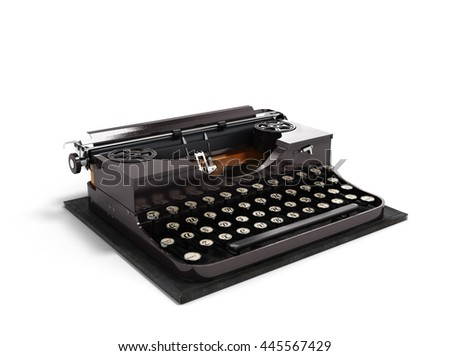 Retro rusty typewriter 3d render isolated on white background - stock photo