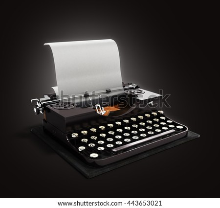 Retro rusty typewriter with paper sheet 3d render on darck gradient background - stock photo
