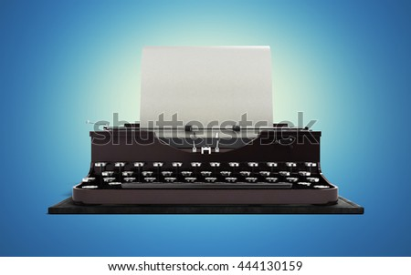 Retro rusty typewriter with paper sheet in front 3d render on blue gradient background - stock photo
