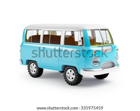 retro safari van in cartoon style isolated on white - stock photo