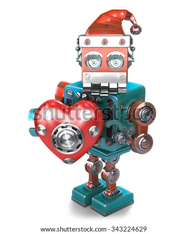 Retro Santa Robot with mechanical heart. Isolated over white. Contains clipping path