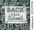 Retro school and university education blackboard icons background back to school poster  illustration - stock photo