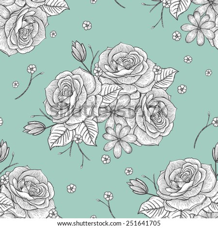 retro seamless hand drawn rose pattern over blue background
