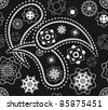 Retro seamless indian black-and-white paisley pattern  - illustration - stock photo