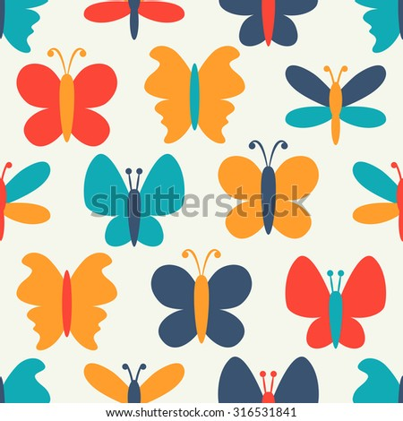 Retro seamless  pattern of colorful butterfly silhouettes. Endless texture can be used for printing onto fabric, web page background and paper or invitation. White, blue, red and yellow colors. - stock photo