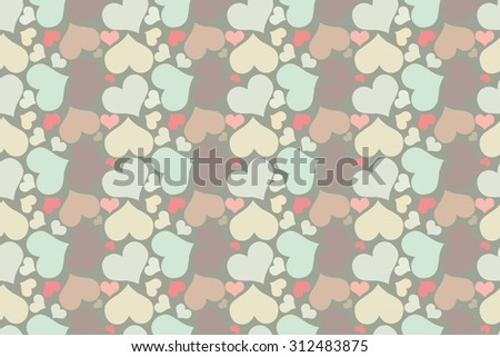 retro seamless pattern with colorful hearts. seamless pattern of hearts on a beige background. Raster version - stock photo