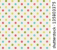 retro seamless pattern with polka dots (raster version of the vector) - stock photo
