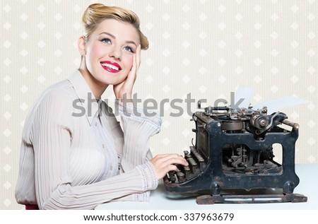 Retro secretary. - stock photo