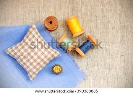 Retro set Handicraft with thimble and thread/Retro set Handicraft - stock photo