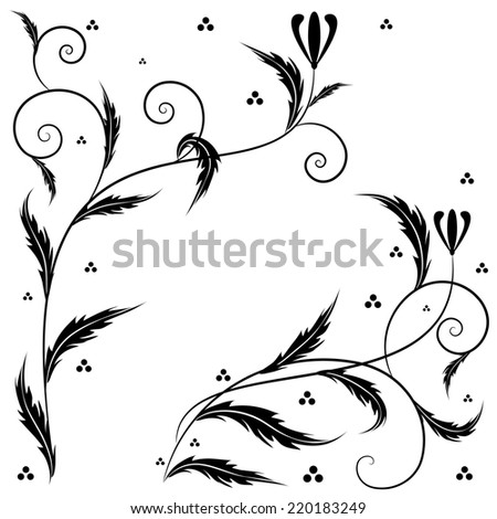 Retro set  illustrations with floral ornament for corner design - stock photo