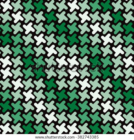 Retro Shapes Pattern in shades of green repeats seamlessly. - stock photo