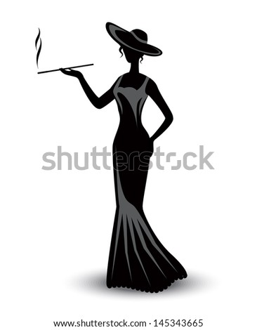 retro silhouette elegant smoking woman in a hat and a long dress  - stock photo