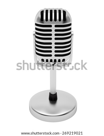 Retro silver microphone isolated on white background. - stock photo