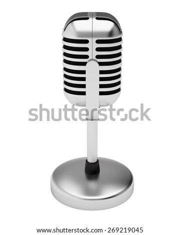 Retro silver microphone isolated on white background.