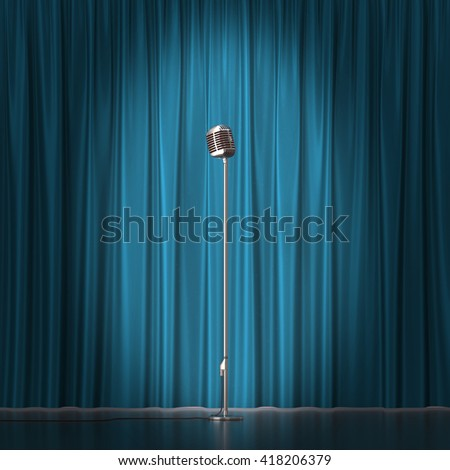 Retro silver microphone on blue cloth background. 3d illustration - stock photo