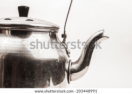 retro silver teapot, jug isolated on white background