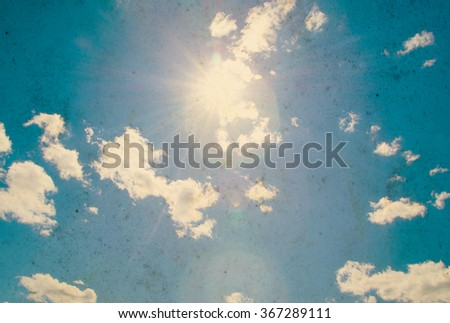 Retro sky and clouds background. - stock photo