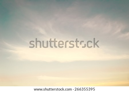 Retro sky with soft clouds on wind movement at sunset  - stock photo