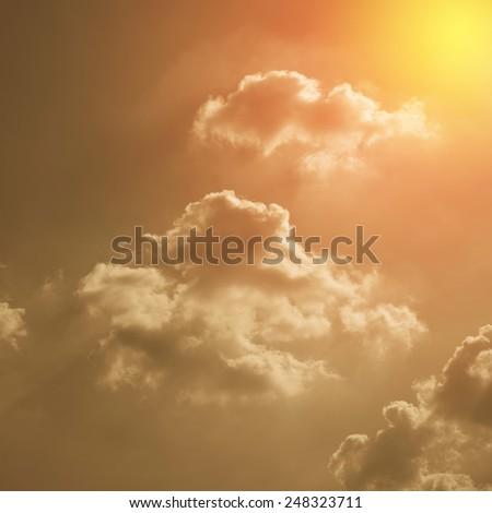 Retro sky with sun ray. - stock photo