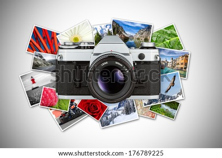 retro slr photo concept - stock photo